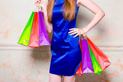 Девушка с покупками Стоковые Изображения RF