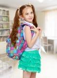 Девушка с портфолио школы стоковая фотография rf
