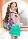 Девушка с портфолио школы стоковые изображения rf
