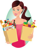 Девушка с посещением магазина бакалеи Стоковое Фото