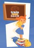 Девушка с поставками и учить рюкзака плакат аксессуаров, иллюстрацию вектора знамени Натренируйте вашу концепцию мозга стоковое фото rf