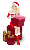Девушка с подарками белокурыми Стоковые Изображения