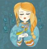 Девушка с птицей Декоративная иллюстрация вектора для поздравительной открытки Стоковые Фото
