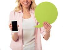 Девушка с пузырем и устройством речи Стоковое Фото