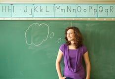Девушка с пузырем речи Стоковые Изображения RF