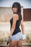 Девушка с пушкой Стоковые Фото