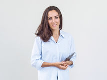 Девушка с планшетом в руках Стоковое фото RF