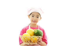 Девушка с плодоовощами стоковые фотографии rf