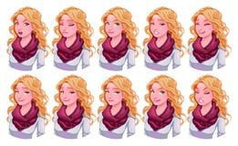 Девушка с различными выражениями Стоковое Фото