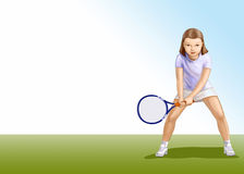 Девушка с ракеткой Стоковые Изображения