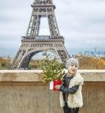 Девушка с рождественской елкой перед Эйфелевой башней в Париже Стоковые Изображения