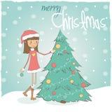 Девушка с рождественской елкой иллюстрация вектора
