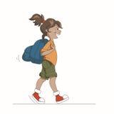 Девушка с рюкзаком бесплатная иллюстрация