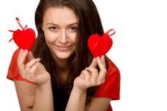 Девушка с сердцами игрушки Стоковое Фото
