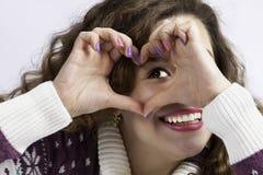 Девушка с сердцем Стоковое фото RF