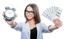 Девушка с сигналом тревоги и деньгами Стоковая Фотография