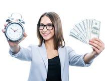 Девушка с сигналом тревоги и деньгами Стоковые Фотографии RF