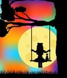 Девушка с силуэтами кота на качаниях с красочным небом бесплатная иллюстрация
