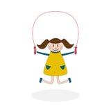 Девушка с скача веревочкой иллюстрация штока