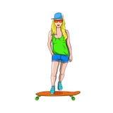 Девушка с скейтбордом Стоковое Изображение