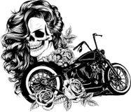 Девушка с скелетом составляет нарисованный рукой эскиз вектора Иллюстрация запаса портрета ведьмы женщины muerte Санты иллюстрация штока