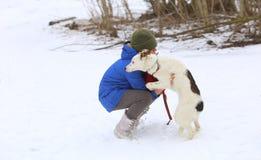 Девушка с собакой в парке зимы Стоковое фото RF