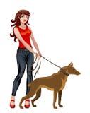 Девушка с собакой иллюстрация вектора