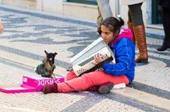 Девушка с собакой стоковые фото
