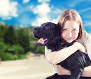 Девушка с собакой стоковая фотография rf