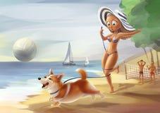 Девушка с собакой Стоковое Изображение