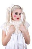 Девушка с составом тележки стоковая фотография rf