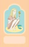 Девушка с солнцецветом карточка 2007 приветствуя счастливое Новый Год Стоковое Изображение