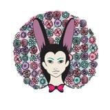 Девушка с с похожими на кролик ушами Стоковые Фото