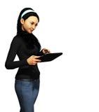 Девушка с таблеткой Стоковые Фотографии RF