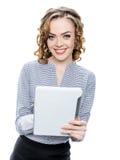 Девушка с таблеткой Стоковое Изображение RF