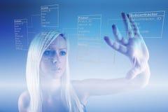 Девушка с таблицами базы данных стоковое фото
