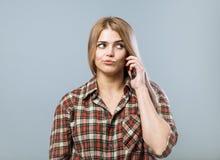 Девушка с телефоном Стоковое Изображение