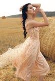 Девушка с темными волосами в элегантном платье представляя на сене Стоковое Изображение