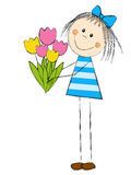 Девушка с тюльпанами иллюстрация вектора