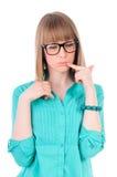 Девушка с думать стекел стоковое изображение rf