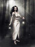 Девушка с фонариками в темном лесе иллюстрация вектора