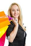Девушка с хозяйственными сумками Стоковое Фото