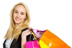 Девушка с хозяйственными сумками Стоковые Фото