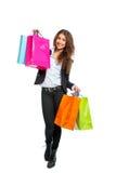 Девушка с хозяйственными сумками Стоковые Изображения RF
