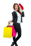 Девушка с хозяйственными сумками стоковое фото rf