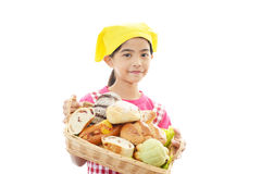 Девушка с хлебом стоковые фото
