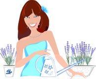 Девушка с цветками лаванды Стоковое фото RF