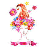 Девушка с цветками в ваших волосах Стоковая Фотография RF