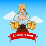 Девушка с цветом пива Стоковые Изображения
