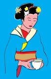 Девушка с чашек чаю Стоковые Изображения RF